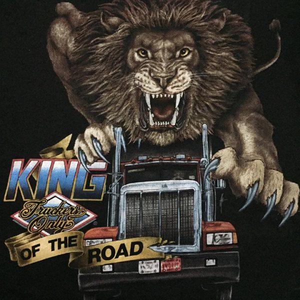 เสื้อ 3d emblem เสื้อยืดมือสอง ของแท้ หัวลากสิงโต KING OF THE ROAD