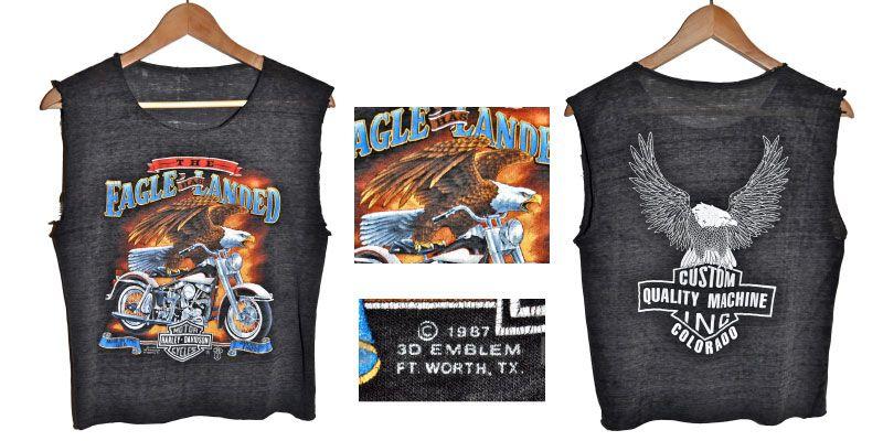 4.เสื้อฮาเลย์ อินทรีย์ขี่ฮาเลย์ 80s 1987 3D Emblem HARLEY DAVIDSON MOTORCYCLES