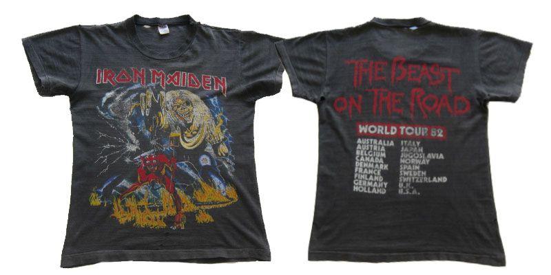เสื้อ 1982 IRON MAIDEN Number Of The Beast World Tour Vintage Concert Rock Shirt 80s