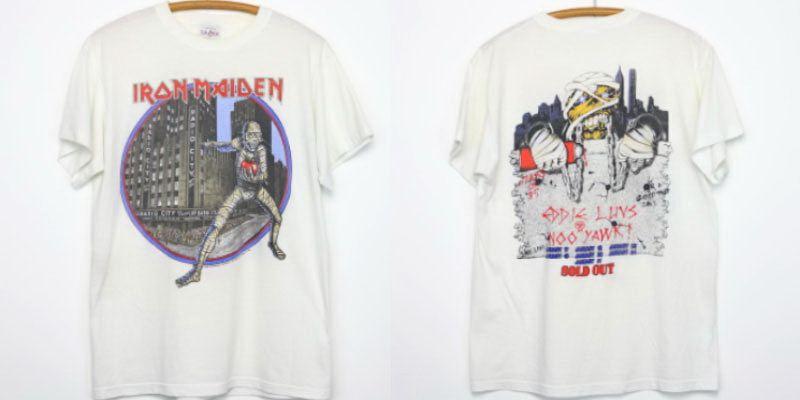 6. เสื้อ Iron Maiden Shirt Vintage tshirt 1985 Eddie Luvs Noo Yawk Tour Live After Death